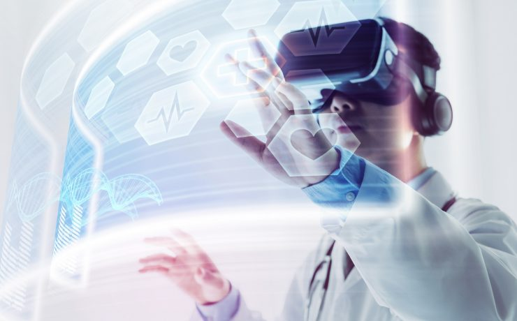 The doctor using virtual reality headset to research
